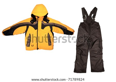 winter children's sport clothes isolated on white background - stock photo
