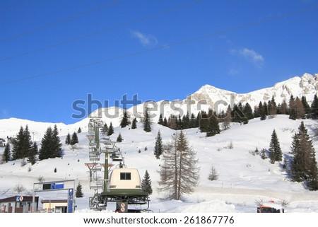 winter landscape in the mountains, ski hoist - stock photo