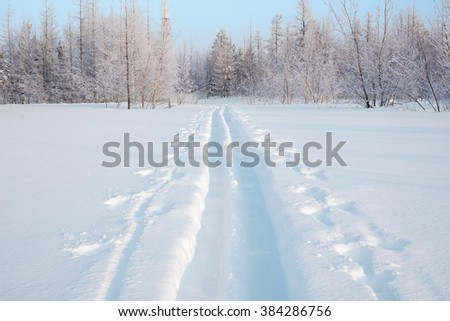 Winter landscape traces of the wide hunting skis                               - stock photo
