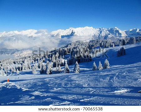 Winter scene in the French Alps