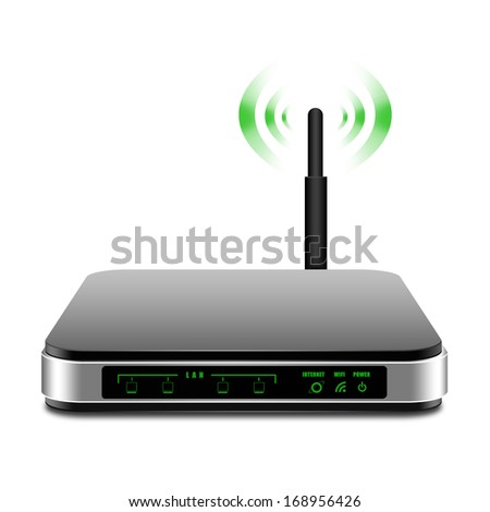 Wireless Router with the antenna illustration - stock photo