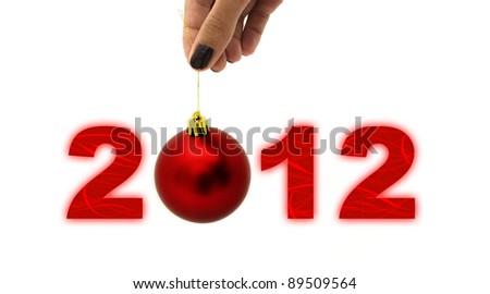 2012 with ball instead of zero - stock photo