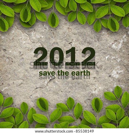 2012 with creepers and sandstone background for ecology concept - stock photo