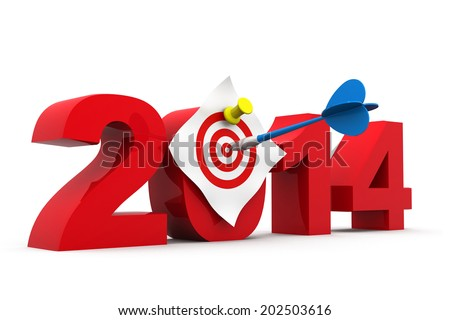 2014 with dartboard, Target of 2014  - stock photo