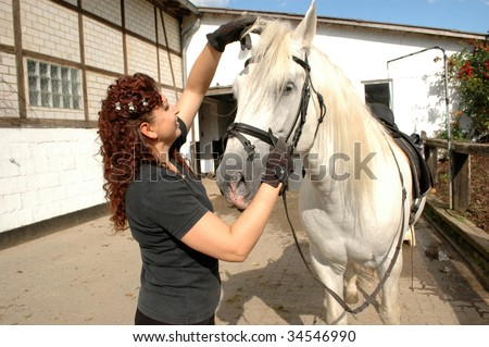 Woman bridles  horse and readjust its foretop.