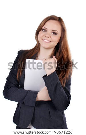 woman, business, hand, person, girl, adult, beautiful, attractive, businesswoman, female, happy, isolated, smile, studio, young, black, businessperson, caucasian, people, showing, standing. - stock photo