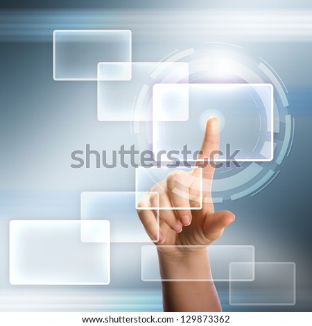 Woman hand pressing modern touch screen buttons - stock photo