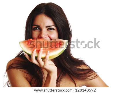 woman hold watermelon in hands isolated on white