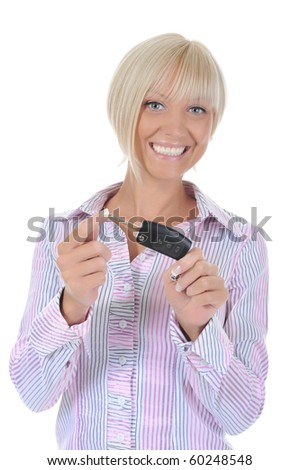 woman holds the key to the car. Isolated on white background - stock photo