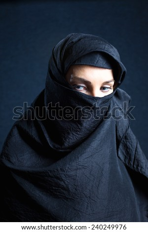 woman in black coverlet