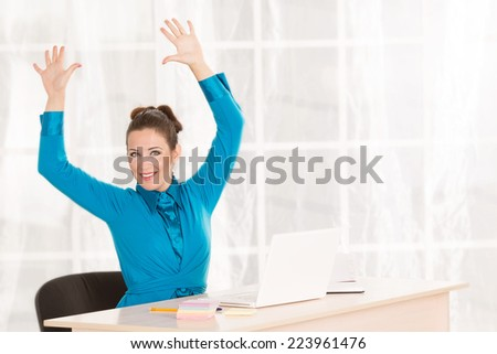 Woman leader, secretary, manager makes the workout. hands up. Woman office fitness. Make a break for exercise. - stock photo