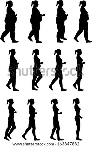 Woman loses weight. Silhouette of a woman.