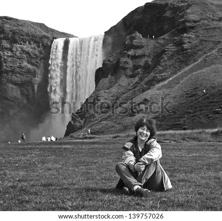 ��� ��? woman near Skogafoss waterfall in Iceland (black and white)