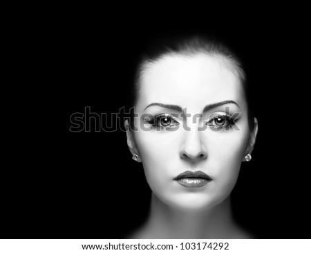 Woman Portrait, BW. Fashion - stock photo