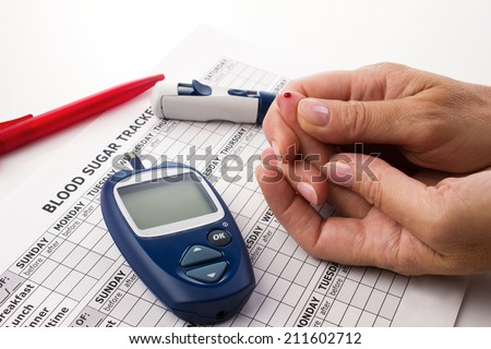 woman's hands doing a test for determination  level sugar in blood near lie glucometer, medicine form and pen on white background  - stock photo