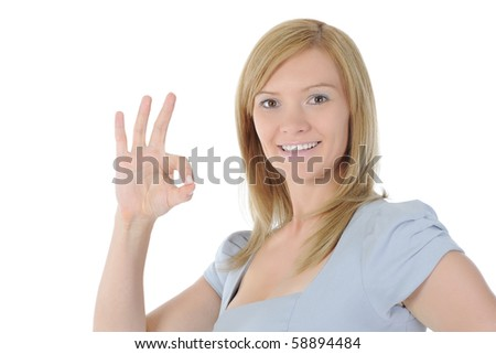 woman showing ok sign.  Isolated on white background