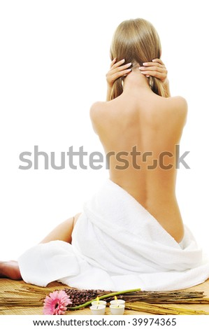 woman  spa and beauty   isolated on white - stock photo