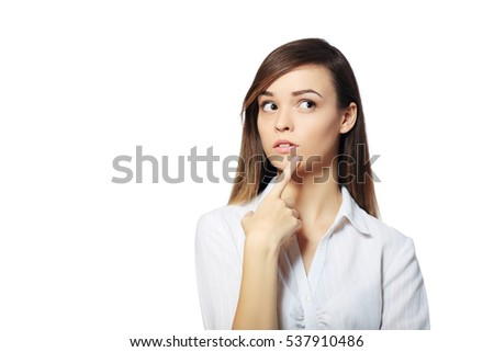 woman thinking in looking pensive and happy in casual clothes isolated on white background