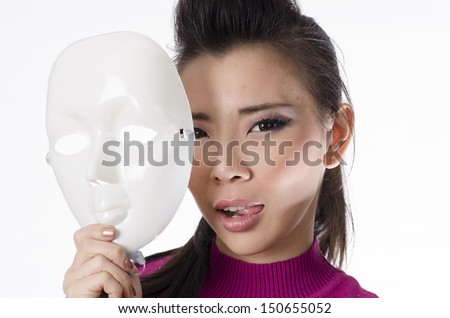 woman wearing mask isolated over white background