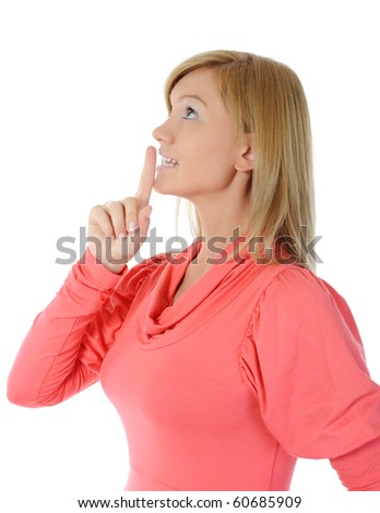 woman with finger on lips.  Isolated on white background