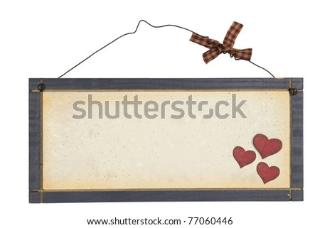 Wood notice board with heart on wire isolated on white background \ Wood plank - stock photo