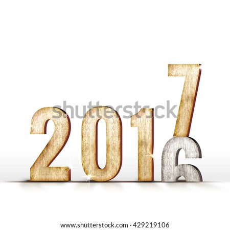 2016 wood number year change to 2017 year in white studio room, New year concept. - stock photo