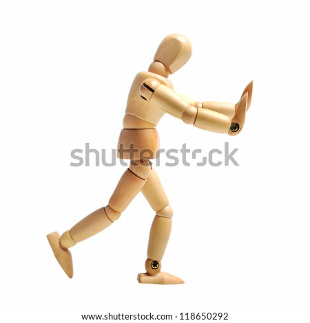 Wood Puppet Advertising - stock photo