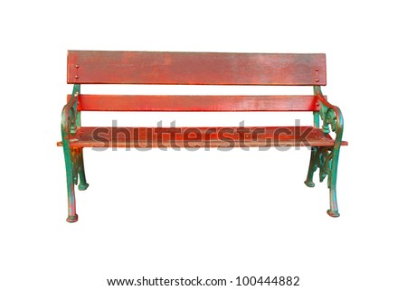 Wooden bench  with steel frame - stock photo