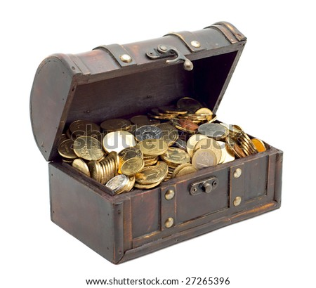 Wooden chest with coins inside isolated - stock photo