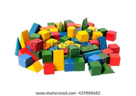 Wooden colorful building blocks isolated on white background. Cubes constructor. Vintage childrens toys. - stock photo