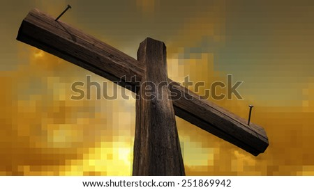 Wooden cross against the sky with shining rays - stock photo