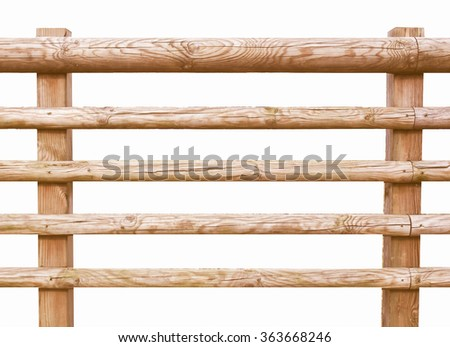 Wooden fence isolated over white vintage - stock photo