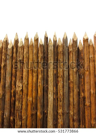 wooden paling isolated on white, vertical composition