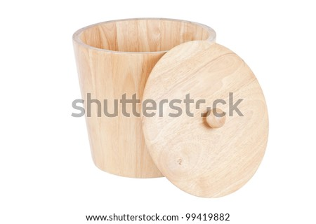 wooden tub on white with clipping path - stock photo