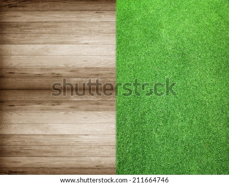 wooden with green grass background pattern background texture.