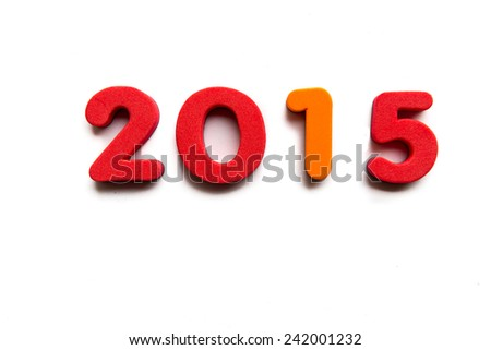 2015 word in white background - stock photo