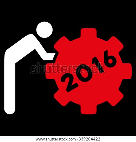 2016 Working Man glyph icon. Style is bicolor flat symbol, red and white colors, rounded angles, black background. - stock photo