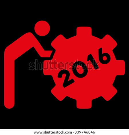 2016 Working Man glyph icon. Style is flat symbol, red color, rounded angles, black background. - stock photo