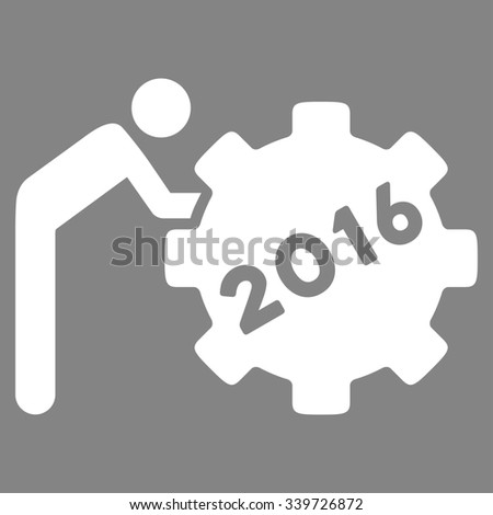 2016 Working Man glyph icon. Style is flat symbol, white color, rounded angles, gray background. - stock photo