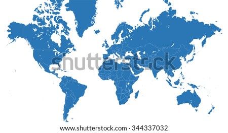 World map with all continents and nations - blue vector planisphere - stock photo