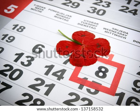 World Red Cross Day marked in the calendar. - stock photo