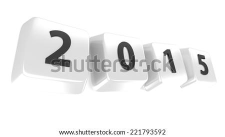 2015 written in black on white computer keys. 3d illustration. Isolated background. - stock photo