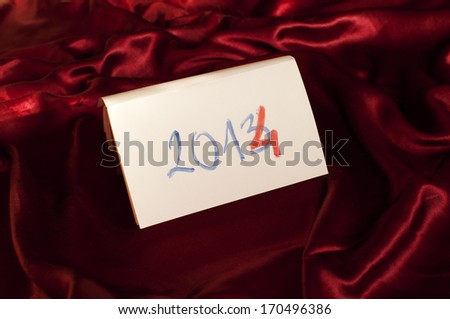 2014 written on a piece of paper - stock photo