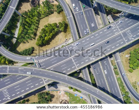 Wuxi, China, Aerial view of a modern highway overpass - stock photo