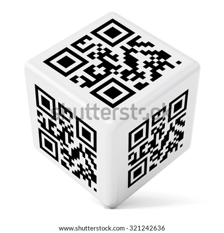 """""""www"""" text QR code on cube isolated on white background. The code does not contain any link to active websites or offensive language. - stock photo"""