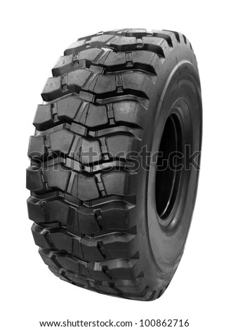 4x4 off-road vehicle tire on isolated on white background - stock photo