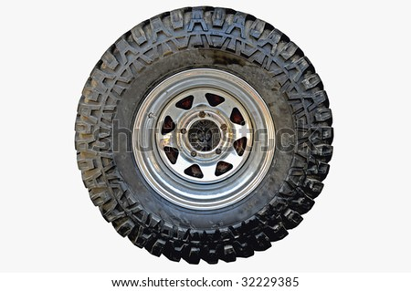 4x4 off-road vehicle tire on isolated on white background and removed - stock photo
