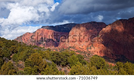 16x9 panorama of Horse Ranch Mountain in Zion Canyon National Park, Utah. - stock photo