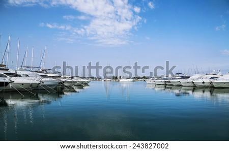 Yachts moored at Sukosan Harbor near Zadar, Croatia - stock photo