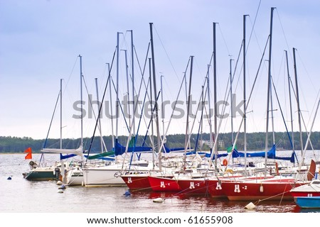 yachts on an anchor in harbor, boats series
